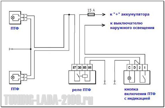 ptf s indikatsiei - Схема подключения противотуманок через реле и кнопку