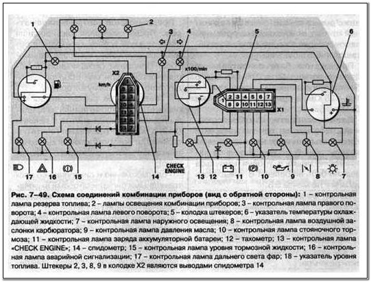 Приборная панель 2109 схема 654