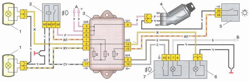 Схема подключения ПТФ ВАЗ 2108